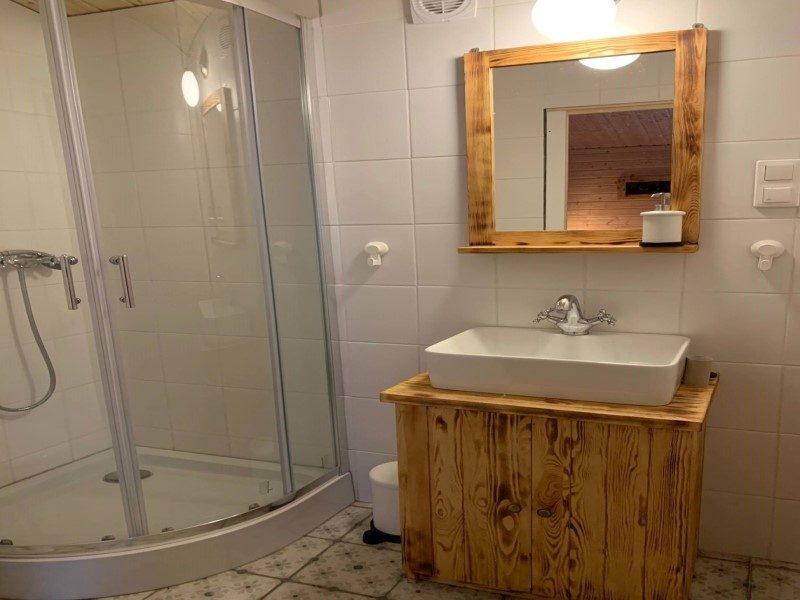 Domek czteroosobowy - widok na prysznic i umywalkę w łazience